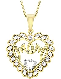 Carissima Gold 9 ct 2 Colour Gold Mum Heart Pendant on Curb Chain Necklace of Length 46 cm/18 inch