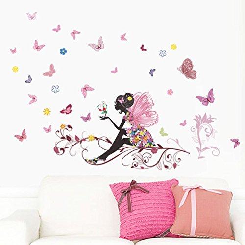 FNKDOR Schmetterlings-Blumen-Fee aufkleber Vinyl WandSticker Kunst Dekoration
