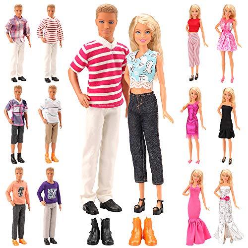 Miunana Lot 15 Kleidung für Ken und Barbie Puppen = 5 Freizeitbekleidung + 5 Hosen +2 Paar Schuhe + 3 Kleider für Barbie