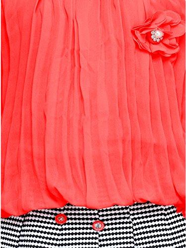 Aarika Girl's Self Design Top and Skirt Set (DR-703-GAJRI_Pink_30_7-8 Years)