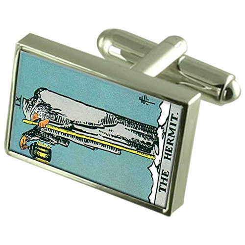 Select Gifts Tarjeta de Ermitaño Tarot Gemelos Crystal Clip de Corbata Bar Box Set Grabado