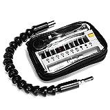 Rose Kuli Rkk-bk-1410en 1Mini tournevis de précision multifonction Sleeve Kit tournevis pour bureau, cuisine, voiture, kit d'outil, flexible, extension de support pour embouts de tournevis pour clé à cliquet