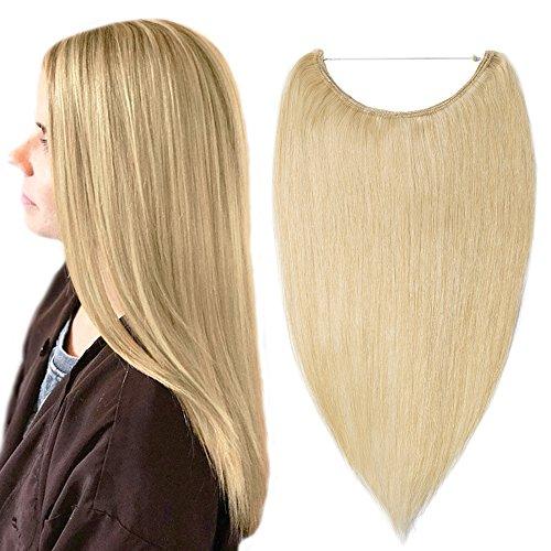 Extension capelli veri umani con filo invisibile 100% remy human hair lunghi lisci 40cm 60g - biondo chiarissimo