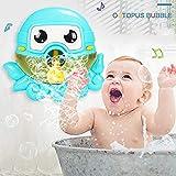 ZHENDUO Badewannenspielzeug, Badespielzeug, Seifenblasenmaschine, Baby Spielzeug, Wasserspielzeug, Octopus Bubble Machine mit Musik, Badewanne Spielzeug für Baby (Blau)