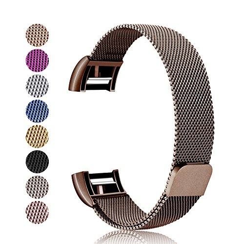 Mornex Kompatibel Fitbit Charge 2 Armband, Milanese Edelstahl Ersatz Klassisch Smart Watch Armbänder, stylishe Zubehörkollektion,Braun