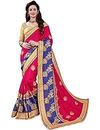 MANOHARI Women's Silk Saree (MN391 _Pink_ Free Size)