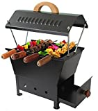 #6: Cuteworld Barbeque Grill | Travel Essentials | Hut Shaped Barbeque with 4 Skewers Charcoal Grill Compact BBQ Black Iron Barbecue