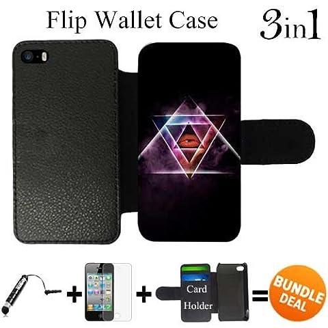 All Seeing Lips Triangles personnalisés iPhone SE Wallet flip coque, 3in1 Bundle Livré avec Protecteur d'écran / Universal Stylus Pen par innosub - XCCRDHEF010171