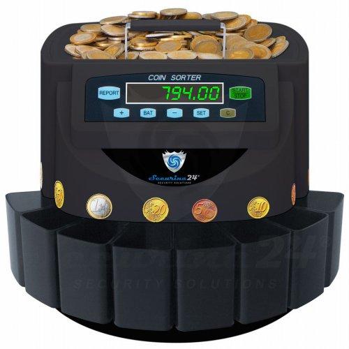 Münzzähler Münzzählmaschine Münzsortierer Geldzählmaschine SR1200T Transporter von Securina24® (schwarz-BBBT)