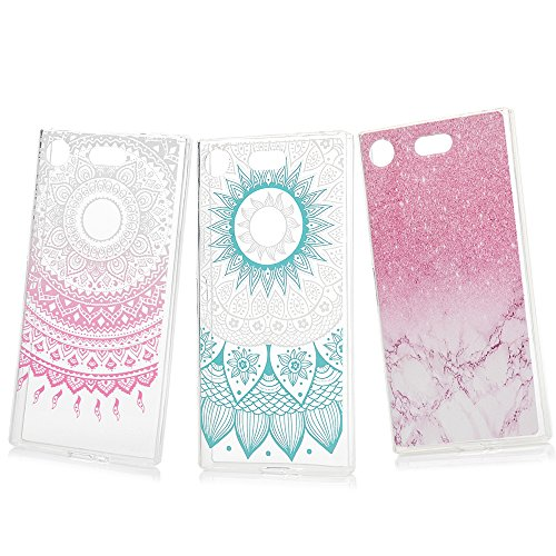 Price comparison product image Sony Xperia XZ1 Compact Case Clear MAXFE.CO [3 Pack] Protective Shockproof Crystal Clear Flexible Silicone Shockproof Case Cover for Sony Xperia XZ1 Compact, Pink Marble & Blue Mandala & Pink Henna Flower