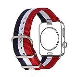 Bandmax Armband für Apple Watch, Nylon Gewebe Denimstoff Ersatzarmband Fashion Blau/Weiß/Rot Flagge Frankreichs Design mit Gürtelschnalle Uhrenarmband für 38MM Apple Watch Series 3/2/1
