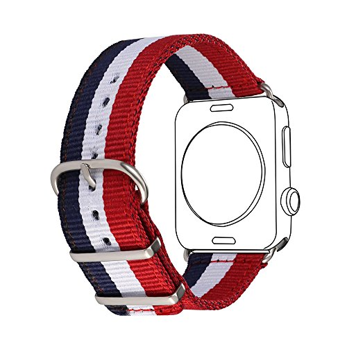 Bandmax Armband für Apple Watch, Nylon Gewebe Denimstoff Ersatzarmband Fashion Blau/Weiß/Rot Flagge Frankreichs Design mit Gürtelschnalle Uhrenarmband für 42MM Apple Watch Series 3/2/1