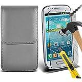 Fone-Case ( Grey ) Samsung galaxy S3 Mini étui Cover Case Brand New Luxury Cuir Side Faux PU Vertical Pull Tab Pouch Housse de la peau avec Protecteurs d'écran en verre trempé Crystal Clear LCD