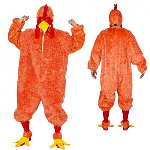 Kostüm Crazy Chicken orange Gr. 54/58 Plüsch-Overall Hahn Huhn Hühnchen Tierkostüm