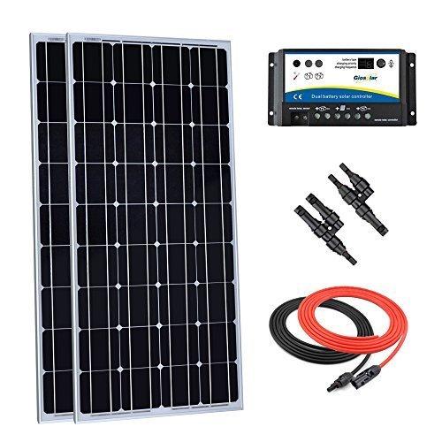 Giosolar 200watt 12volt pannello solare monocristallino kit con 20amp dual battery charge controller, solar cavo, connettori mc4ramo