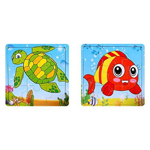 Holz Puzzles Spielzeug 9Pcs Holz Puzzle Board Kinder Bunte pädagogische Stichsägen Lernspielzeug für Kleinkinder und Kinder im Vorschulalter über 3 Jahre Fisch + Schildkröte Puzzles Spielzeug 2Pack (Vorschulalter Für Kinder Im Lernspielzeug)