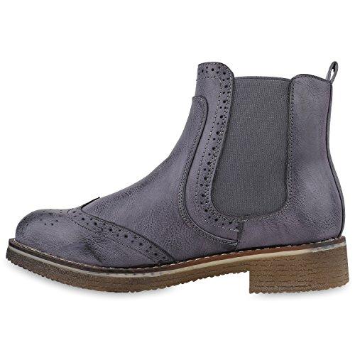 Stiefelparadies Gefütterte Chelsea Boots Damen Stiefeletten Leder-Optik Schuhe Profilsohle Booties Damenschuhe Übergrößen Flandell Blau Cabanas