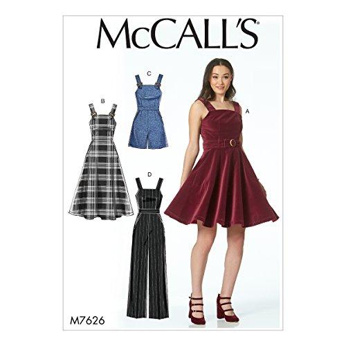 McCall 's Patterns 7626AX5, Damenkleider, Gürtel, Strampler und Overall, Mehrfarbig -