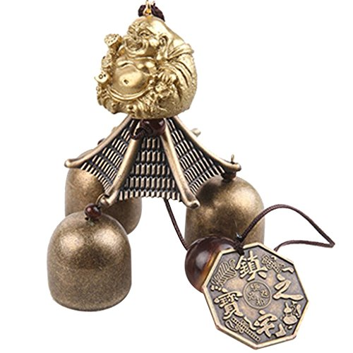 Imported Chinese Buddha Coin Metal Bell Lucky Feng Shui Hanging Charm Wind Chime  available at amazon for Rs.345