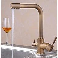 Greeningspring Antique Brass 3-way 2-handles Kitchen Faucet Pure Water Vessel Filter Mixer Tap
