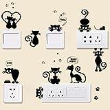 Tophappy Wall Stickers Gatto Interruttore Adesivi Murali, Camera da Letto Soggiorno Adesivi da Parete Removibile Stickers Murali/Decorazione Murale Famiglia Arte Decorazione Murales