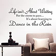 IGEMY Life Isn't About Waiting Wall Stickers Quote Dancing in rain Wall Decal Words (Black)