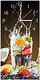 Wallario Design Wanduhr Tropische Früchte in Einem erfrischenden Drink aus Acrylglas, Größe 30 x 60 cm, weiße Zeiger