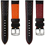 Geckota® Genuine Italian Leather Perforated Sport Watch Strap, Black with Contrasting Stitching