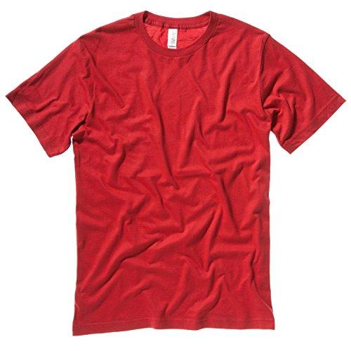 Unisex Bella tela sottile laterali barattolo maglia girocollo T-shirts dimensioni XS-2XL Rosso