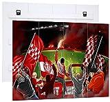 Ultras Die roten Teufel, MDF-Holzbild im Bretterlook,