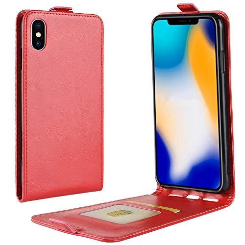 Hülle für iPhone XS max, Amuse-MIUMIU Ultradünne Stilvolle Elegante Ledertasche Magnetic Closure Snap Flip Case vertikal Schutzhülle mit Kartenfach für iPhone XS max 6.5 Zoll (Rot) Apple Iphone Snap Rot