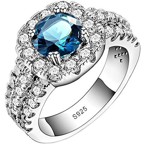 So Chic Gioielli - Anello di Fidanzamento Jasmine - Solitario Rotondo 3 Linee - Zirconia Cubica Bianco Blu & Argento Sterling 925