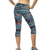 Court Leggings Florale Bassique Femme Pantalon Taille Haute Pants Stretch Skinny Yoga Gym Fitness Sport Chic SANFASHION(38FR, Multicolor)