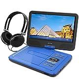 WONNIE 10,5' Lecteur DVD portable avec un écran rotatif 270°, Carte SD et prise USB avec charge directe Formats/RMVB/AVI/MP3/JPEG, Parfait pour Enfants (Bleu)
