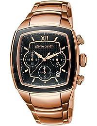 Pierre Cardin Général - Reloj cronógrafo de cuarzo para hombre, correa de acero inoxidable, color rosa dorado/negro/rosa dorado, Swiss Made