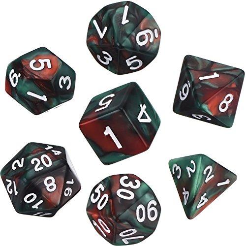 Polyedrische 7- Würfel- Set für Dungeons und Dragons mit Schwarz Beutel (Rot Grün) -