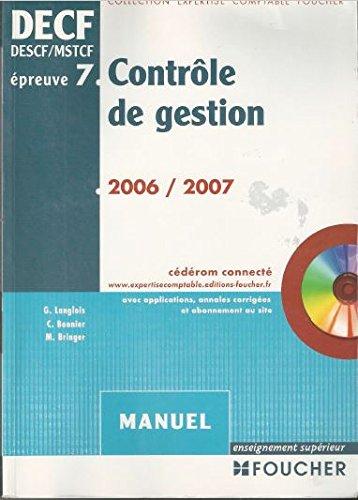 Contrôle de gestion DECF épreuve n°7 : Manuel (1Cédérom)