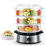 Aigostar Fitfoodie Steel 30INA - Vaporera eléctrica para cocinar alimentos al vapor con potencia de 800 W con temporizador y base en acero inoxidable. Libre de BPA, dispone de 3 recipientes de cocinado. Diseño Exclusivo.