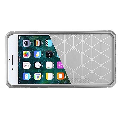 EKINHUI Case Cover Für Apple IPhone 7 Fall Gebürstete Linien Beschaffenheit Karikatur Faser Haltbare Anti-Rutsch TPU Abdeckung Schock-Absorbtion schützende rückseitige Abdeckung ( Color : White ) Light Gray
