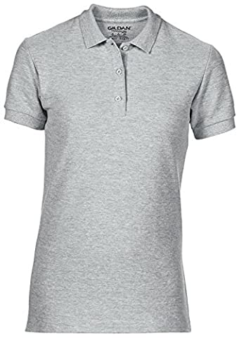 Womens Premium Cotton Double Pique Polo Shirt by Gildan - - RS Sport Grey - 2XL