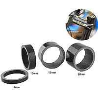 "GKONGU Auriculares Espaciadores, 4 Piezas Fibra de Carbono Completa 5/10/15 / 20mm Bicicleta Espaciador para Bicicleta de Carbono 1 1/8"" Bicicleta Espaciadores"