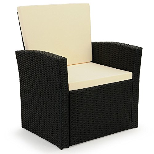 10 tlg. Polyrattan Sitzgruppe mit Glastisch – Sitzgarnitur Rattan Lounge mit 7cm dicken Sitzauflagen - 7