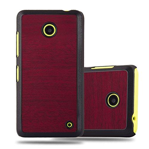 Preisvergleich Produktbild Cadorabo Hülle für Nokia Lumia 630 - Hülle in Woody ROT - Hardcase Handyhülle in Vintage Holz Optik - Schutzhülle Bumper Back Case Cover