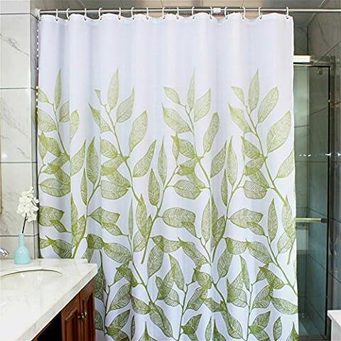 Manggou Feuilles Tissu Rideau de douche, étanche Polyester Rideau de salle de bain décoratifs, Rideau de douche Liner avec 12crochets, résistant aux moisissures, lavable en machine, 182,9x 182,9cm, Vert