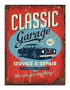 Garage de Service-Old Car & classique Vintage/rétro/vieilli)-Décoration murale en bois Motif signe bois