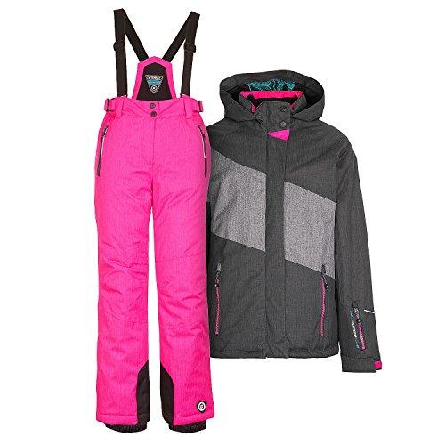 Kinderskianzug Skijacke Kaiti Jr. grau + Skihose Danya Jr. pink - Gr. 176