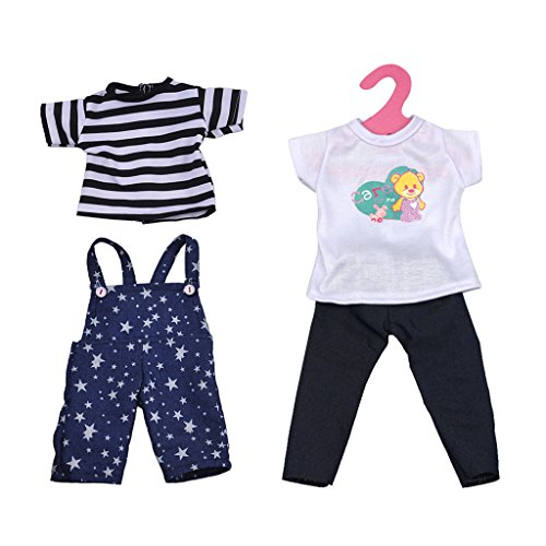Blesiya 2 Piezas Camiseta de Manga Corta + Pantalones con Tirantes de Hombro + Pantalones Jeans para 18 Pulgadas Americana Chica Doll