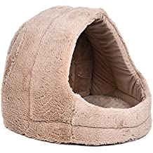 BEITE- Perro de perro de la cueva de la cama de la cuna del gato de la casa del gato de la cuna con la estera suave 4 colores encantadores ( Color : Beige )