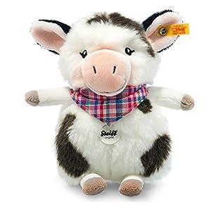 Steiff Happy Farm Mini Cowaloo Vaca Felpa, Sintético Negro, Blanco - Juguetes de Peluche (Vaca, Negro, Blanco, Felpa, Sintético, Vaca, Mini Cowaloo, Niño/niña)
