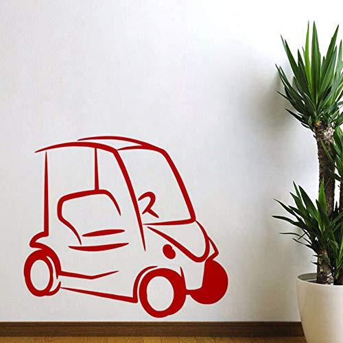 ches Design Golf Cart Wandaufkleber Ausgangsdekor Kinderzimmer Wandtattoos Vinyl Abnehmbare Wandkunst Aufkleber Rot ()